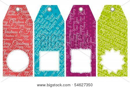 Color Christmas Labels With Sale Offer, Vector