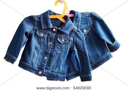 Denim Child  Jackets On A White  Background