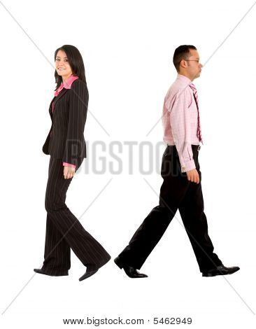 Business Couple Walking Away