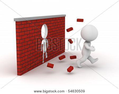 3D Man running through a brick wall