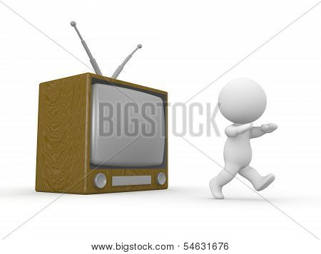 3D Man running away from TV