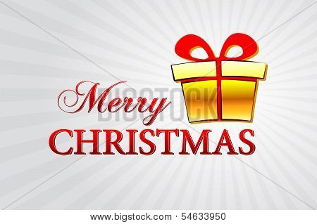 Merry Christmas With Golden Gift Box Over Silver Rays