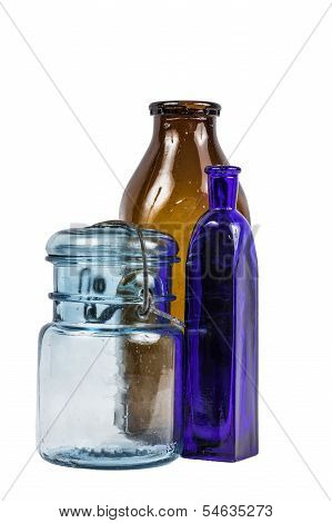 Blue And Brown Glass Bottles Isolated