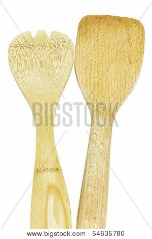 Wooden Kitchen Utensils Isolated