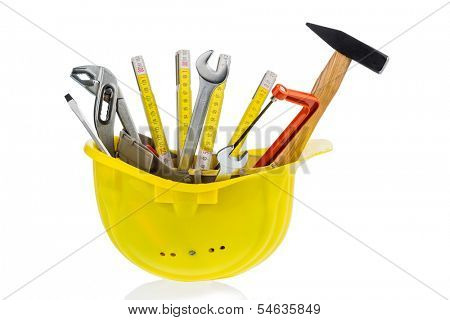 hand tool in a protective helmet, icon photo for crafts, construction, home improvement