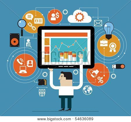 Business people in the online space. Marketing network concept. Abstract illustration of man, tablet and interface icons. Business technology