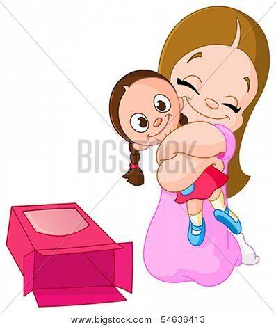 Young girl hugging a rag doll she got for Christmas