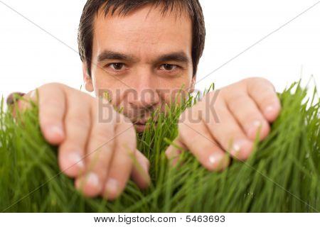 Man Hiding Behind Grass Blades