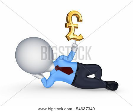 3d small person with sign of pound sterling.