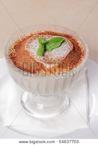 Glass Ice Cream With Chocolate Cream
