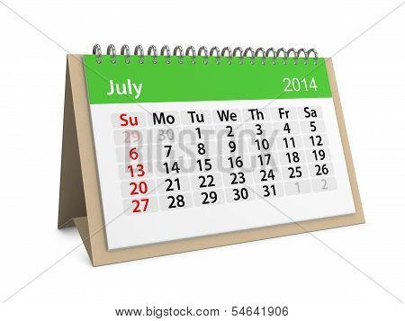 Monthly Calendar For New Year 2014. July