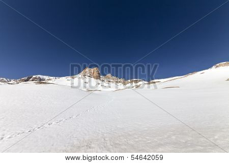Snowy Plateau And Rocks