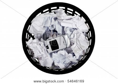Wastepaper With  Papers And  Phone