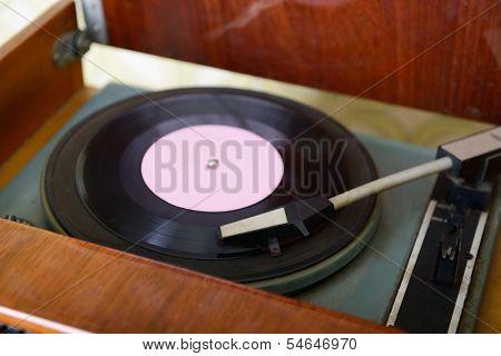 Retro record player, detail shot