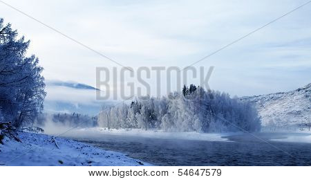 Winter Landscape With Katun River At Altai Mountains