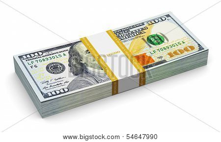 Stack of new 100 US dollar banknotes