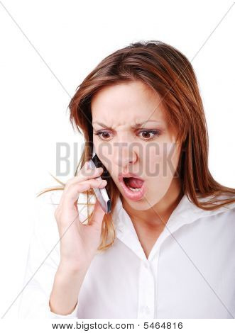 Young Brunette With Angry Expression On Face Speakin Cell Phone