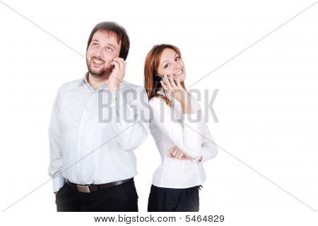 Young Male And Female Standing Talking