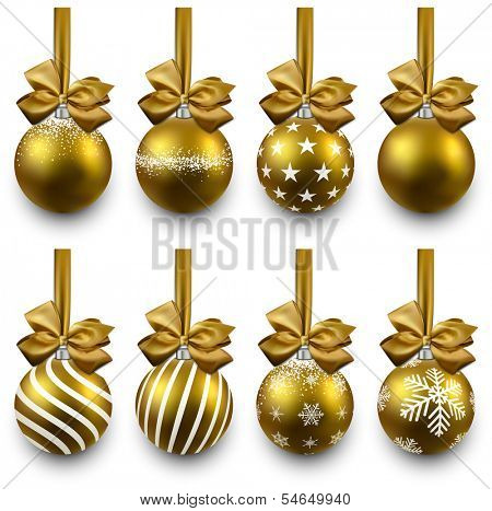 Golden christmas balls on gift bows. Set of isolated realistic decorations. Vector illustration.