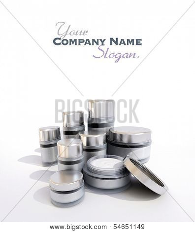 3D rendering of a cosmetic range with different products against a white background