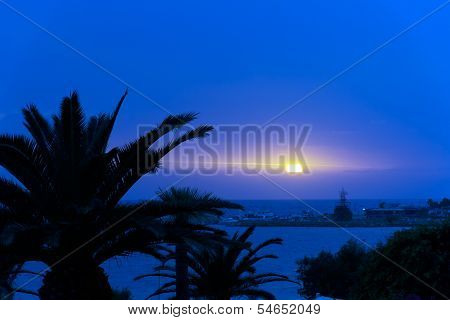 Sunset over sea , Cyprus, Ayia Napa, blue