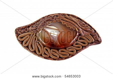 Brooch ??of Leather And Agate