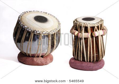 Isolated Set Of Traditional Indian Tabla Drums On A White Background