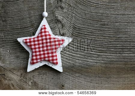 Merry Christmas Decoration White Wooden Star Gingham Fabric Pattern