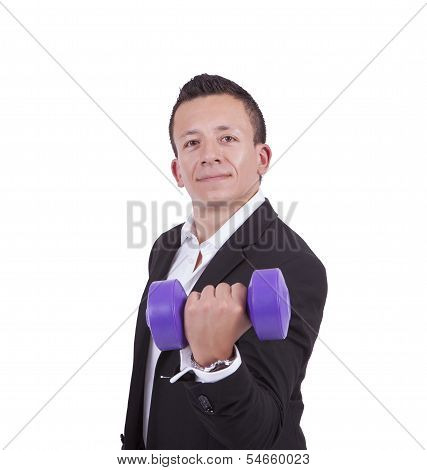 Young mixed race businessman exercising with dumbbell