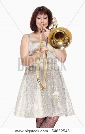 Young Female Musician Playing Trombone