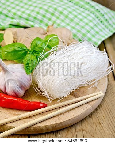 Noodles Rice Thin With A Napkin On The Board