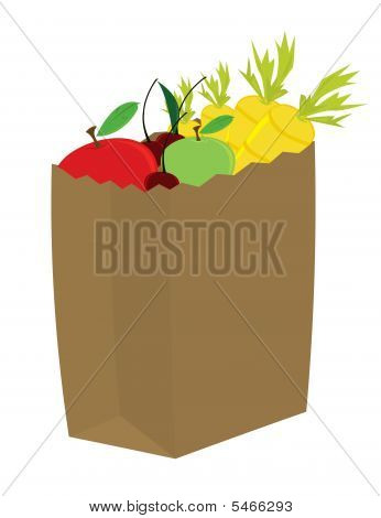 Fruit And Vegetables In Grocery Bag