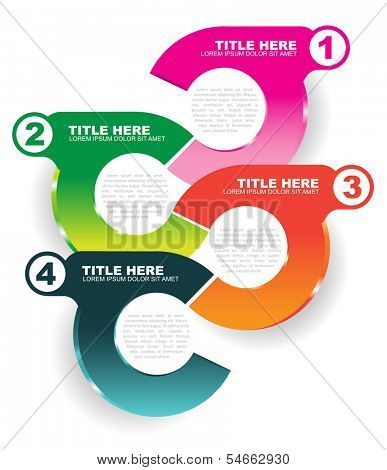 Abstract vector info colored illustration with four steps and place for text content on a white background. Can use for poster, brochure, web, flyer and print as scheme with four choices.