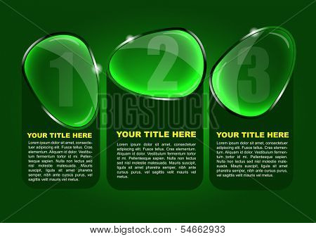Abstract vector background with three glass options and places for your contents. Can use for web, brochure, poster, flyer or print.