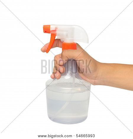Hand Holding A Spray Bottle With Laundry Detergent Isolated Over Whiter Background
