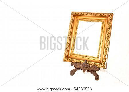 Patterned Gold Frame On Vintage Metal Stand