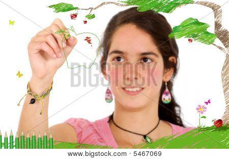 Girl Drawing On Screen