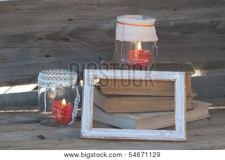 Wood Frame,  Glass Pigmented And Books