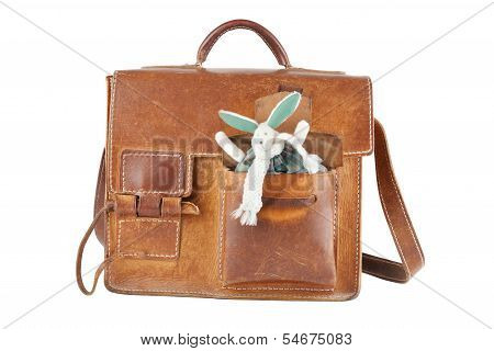 Brown Shoulder Bag With Cute Toy Rabbit In Pocket, Isolated