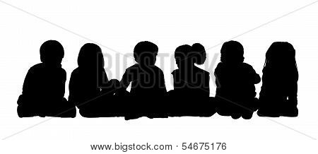 Medium Group Of Children Seated Silhouette 1