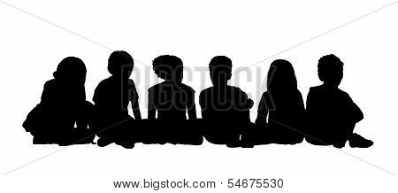 Medium Group Of Children Seated Silhouette 2