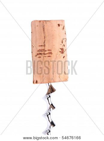 Cork and corkscrew on a white background