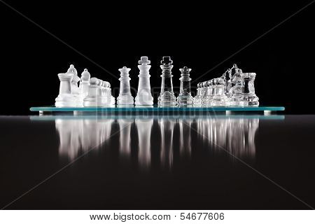 Glass Chess Board With Chess Pieces