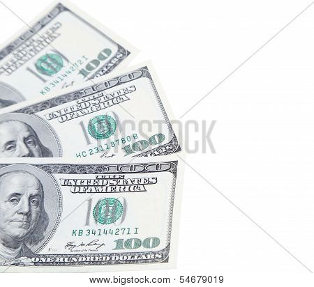 Three 100 dollars greenbacks