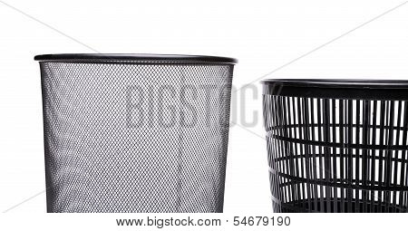 Top metal and fragment plastic trash can.