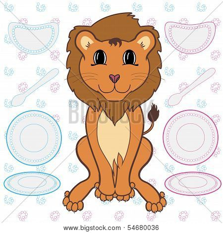 Vector illustration of cute lion cartoon caracter