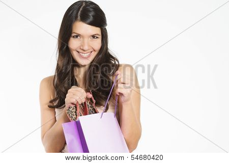 Smiling Woman Happy With Her Purchase