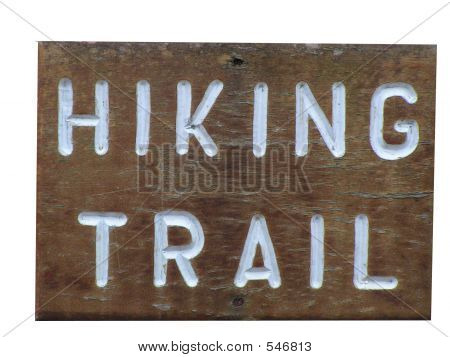 Wooden Hiking Trail Sign