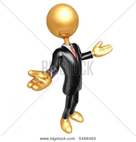 3D Vector Gold Guy Businessman