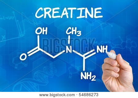 Hand with pen drawing the chemical formula of creatine